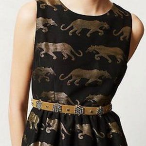Anthropologie Gold Tiger Print Dress Size 2